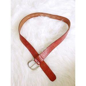 //FOSSIL// Floral Embossed Leather Belt